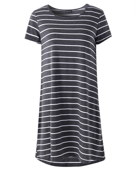 Striped O-neck Casual Summer Mini Shirt Dress