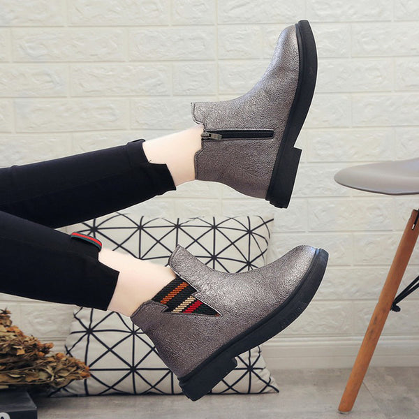 Women Casual Soft Outdoor Ankle Zipper Boots