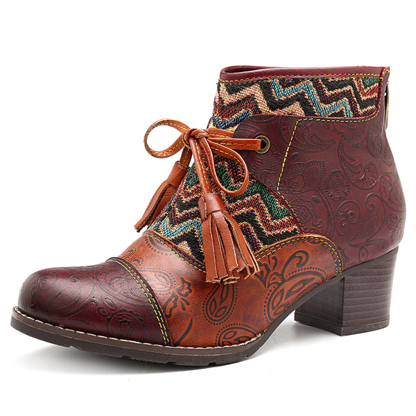 SOCOFY Stitching Stripe Genuine Leather Ankle Boots