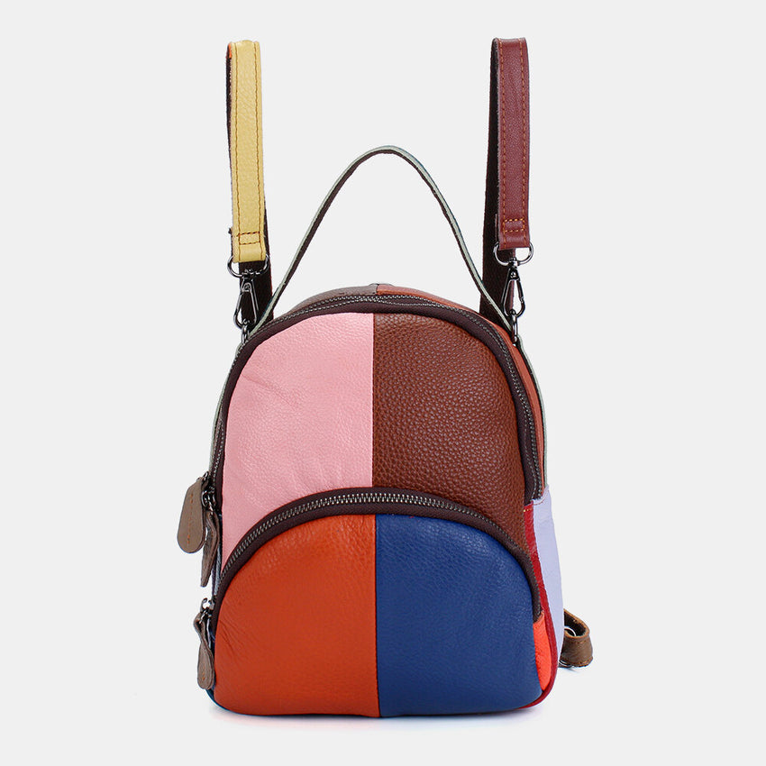 Women Genuine Leather Patchwork Backpack Crossbody Bags - Slabiti