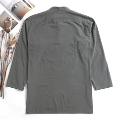 Mens Casual Loose Solid Color Long Sleeve Cotton Tops - Slabiti