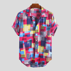 Mens Summer Colorful Plain Printed Pocket Short Sleeve Casual Shirts - Slabiti