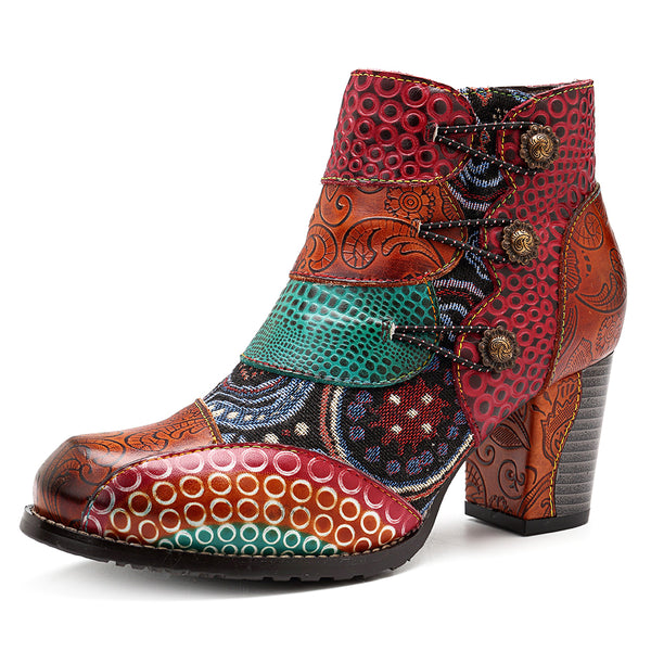 SOCOFY Splicing Pattern Button Zipper Ankle Leather Boots