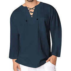 Mens Drawstring Chest Pocket Solid Color Tops Loose Comfy Casual T Shirts - Slabiti