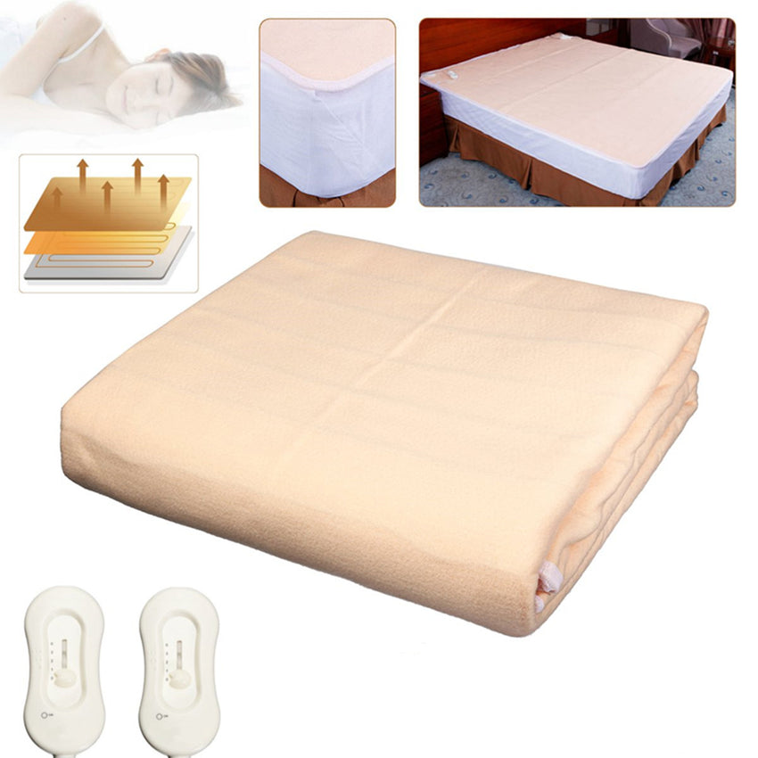 2x1.8M Electric Super King Size Blankets Heated Mattress Fitted Bedside Dual Controller - Slabiti