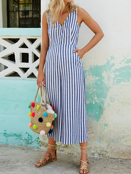 Women Stripe O-neck Button Back Zipper Sleeveless Dress