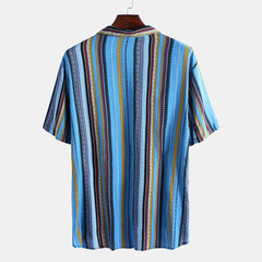 Mens Summer Fashion Stripe Printed Short Sleeve Casual Shirts - Slabiti