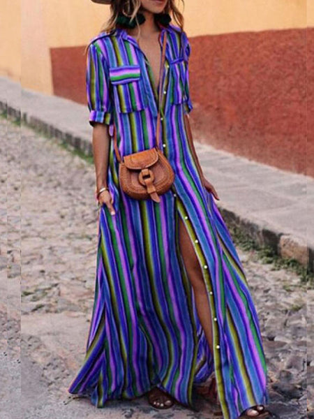 Rainbow Stripe Beach Button Shirt Maxi Dress