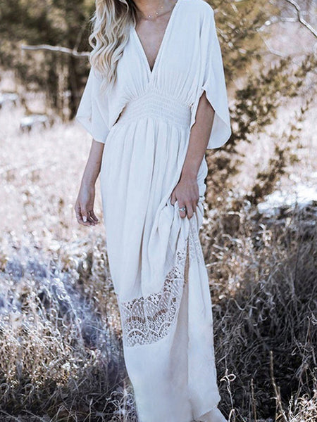Lace Stitching Backless Waist Elastic Casual Maxi Dress