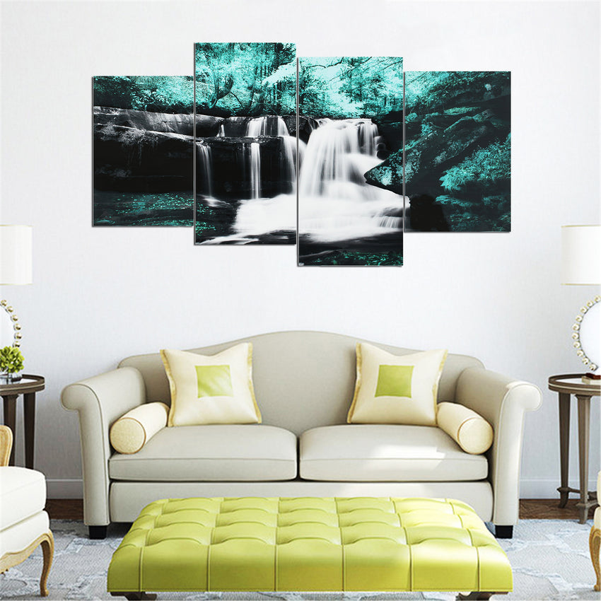 4PCS Forest Falls Wall Paintings Home Modern Art Nature Unframed Picture Decor - Slabiti