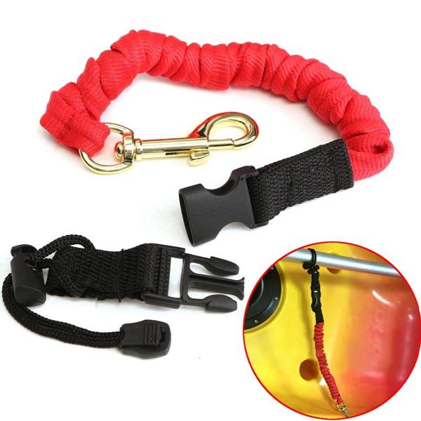 Elastic Paddle Leash Paddle Rope Bungee Rope Metal Hook For Kayak Canoe Oars - Slabiti