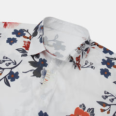 Mens Chinese Fashion Floral Printed Square Collar Short Sleeve Casual Shirts - Slabiti