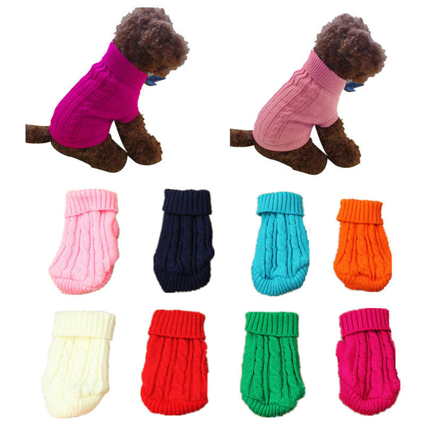 Pet Dog Cat Clothes Winter Solid Warm Sweater Knitwear Puppy Clothes Pest Coats - Slabiti
