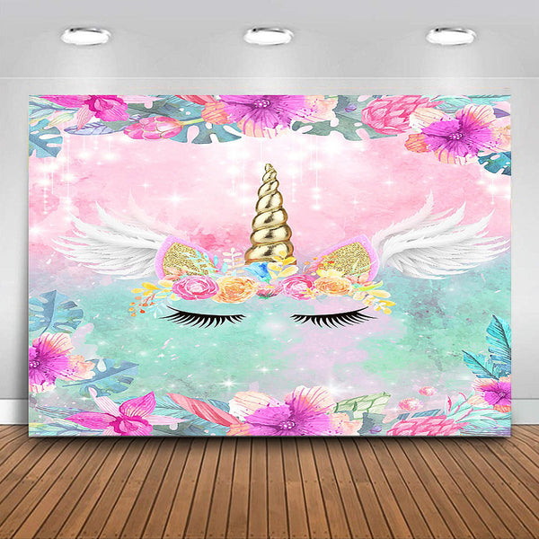 Birthday Theme Party Flowers Rainbow Backdrop Baby Pink Curtain Birthday Backgrounds - Slabiti
