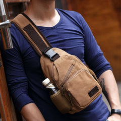 Men Vintage Canvas Shoulder Bag Crossbody Bag Chest Bag - Slabiti