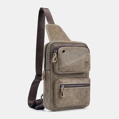 Bullcaptain Vintage Genuine Leather Causal Chest Bag Crossbody Bag For Men - Slabiti