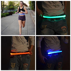 LED Flashing Waistband Safety Reflective Waistband Bicycle Jogging Running Belt - Slabiti