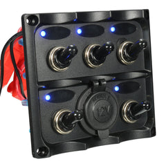 Marine 5 Gang LED Toggle Switch Panel Power Socket Waterproof For Caravan RV Boat - Slabiti