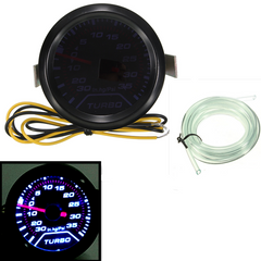 Universal 52mm 2 LED Turbo Boost Pressure Gauge Smoked Dials Face Psi - Slabiti