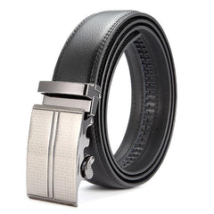 Mens Second Layer Leather Business Belt Alloy Adjustable Automatic Buckle Leather Black Belt - Slabiti