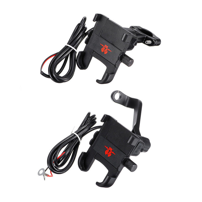 2A USB Charging Mobile Phone Holder Anti-dropping Bracket Motorcycle Aluminum Handlebar/Rearview Mirrors - Slabiti