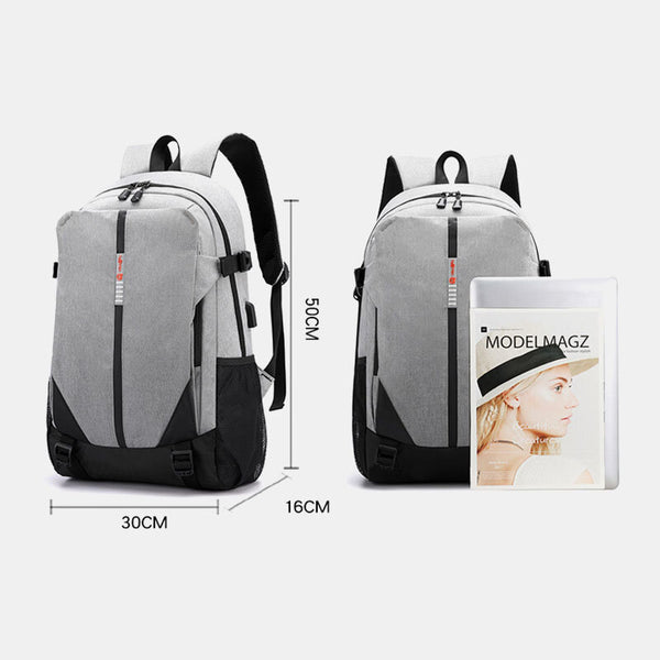 Fashion Large Capacity Light Weight Backpack With USB Charging Port - Slabiti