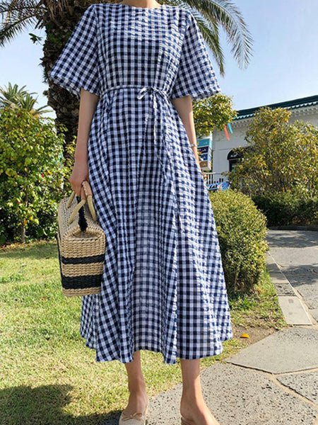Women Summer Short Sleeve Plaid Bow-knot Casual Dress