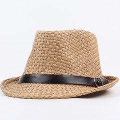 Men Women Classic Wide Brim Straw Cowboy Hat Outdoor Visor Fedora Beach Panama Hats - Slabiti