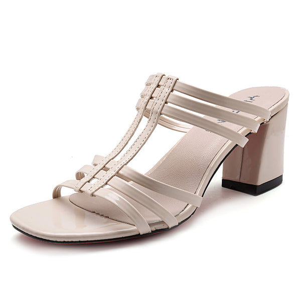 Women Shoes Roman Peep Toe Chunky Heel Sandals - Slabiti
