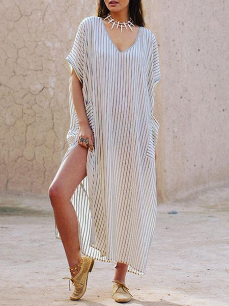 Women Stripe Bat Sleeve Split Hem Side Pockets Dress