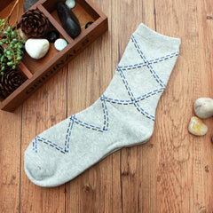 Men Fall Winter Sports Basketball Casual Rhombus Grid Cozy Socks - Slabiti