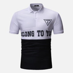 Men Color Block Letter Printed Muscle Fit Golf Shirt - Slabiti
