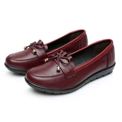 Women Leather Butterfly Knot Casual Slip On Flats - Slabiti