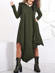 Women Irregular Hem Hooded Long Sweatshirt Casual Dress