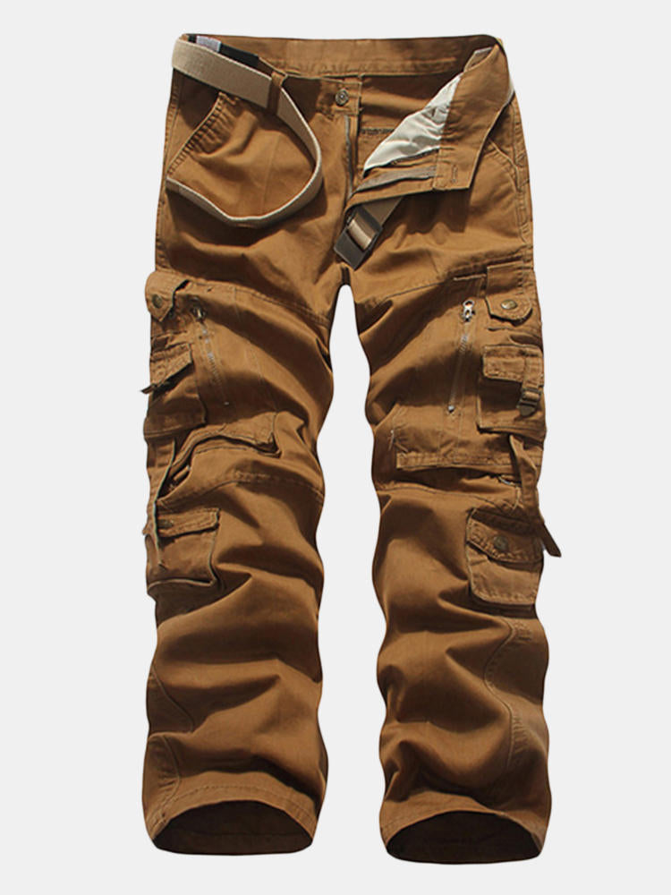 Mens Cotton Zipper Multi-pocket Cargo Pants Straight  Solid Color Casual Trousers - Slabiti