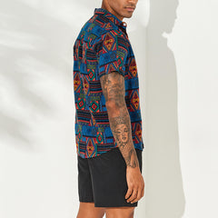 Mens Vintage Fashion Ethnic Pattern Printing Summer Shirts - Slabiti
