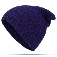Women Mens Solid Woolen Warm Knit Beanie Cap Adjustable Windproof Winter Hat - Slabiti