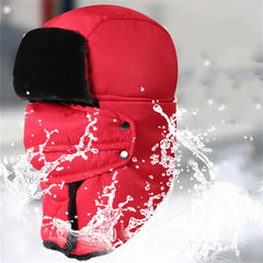 Mens Women Waterproof Skiing Warm Hats Thicken Full-protection Mask Face Neck Hat - Slabiti
