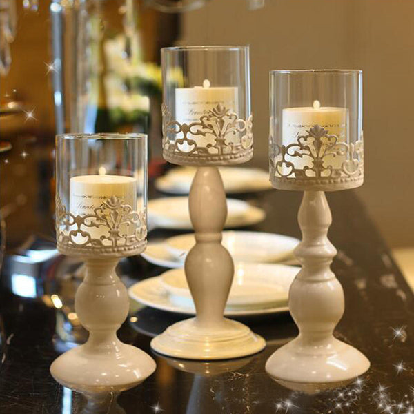 White Carving Flower Candlestick Candle Holder with Glass Lampshade Candelabra Home Wedding Party Decor