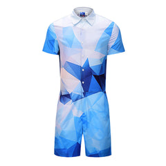 Mens Fashion Street Pattern Printing Rompers Set Onesie Jumpsuit - Slabiti