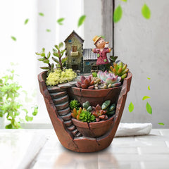 Sky Garden Potted Big House Micro Landscape Meat Plant Pots Flower Pot Resin Decorations - Slabiti