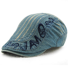 Mens Cotton Washed Embroidery Beret Hat Buckle Adjustable Paper Boy Newsboy Cabbie Cap - Slabiti
