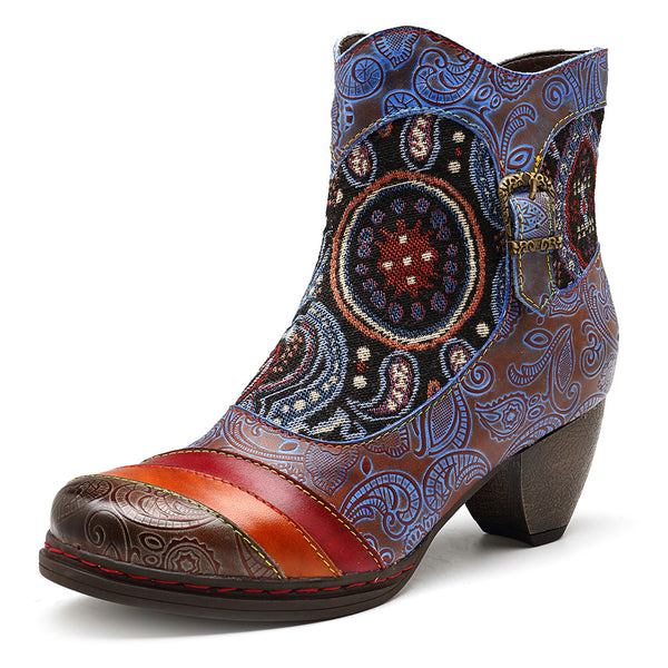 SOCOFY Jacquard Splicing Pattern Genuine Leather Ankle Boots - Slabiti