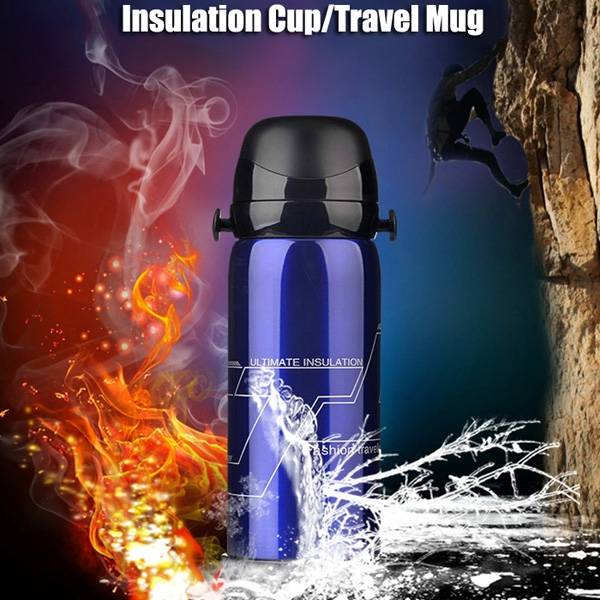 800ml Stainless Steel Double Cover Thermal Insulation Kettle Vacuum Thermos Flask Travel Mug - Slabiti