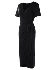 Waist Tie V Neck Short Sleeve Casual Wrapped Maxi Dress