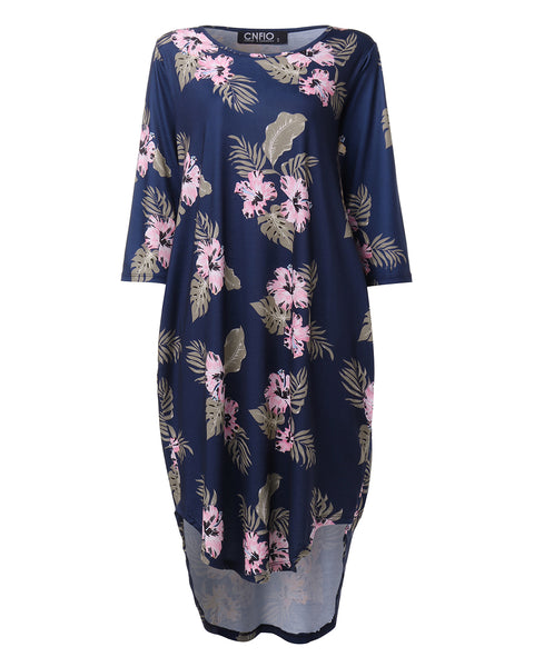 Women Floral Print Casual 3/4 Sleeve Midi Dress