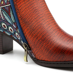 SOCOFY Leather Pattern Zipper Ankle Boots - Slabiti