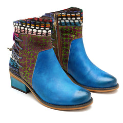 SOCOFY Women Handmade Weave Genuine Leather Pattern Ankle Boots - Slabiti