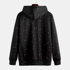 Fashion Space Printing Hooded Long Sleeve Casual Sweatshirt - Slabiti