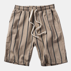 Mens Summer Fashion Loose Breathable Straight Stripe Drawstring Shorts - Slabiti